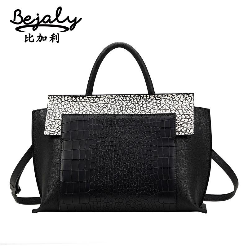 Bags Handbags Women Genuine Leather Bag BEJALY Brand Cowhide Leather Shoulder Bag Fashion Alligator Handbags Messenger Wing Bags