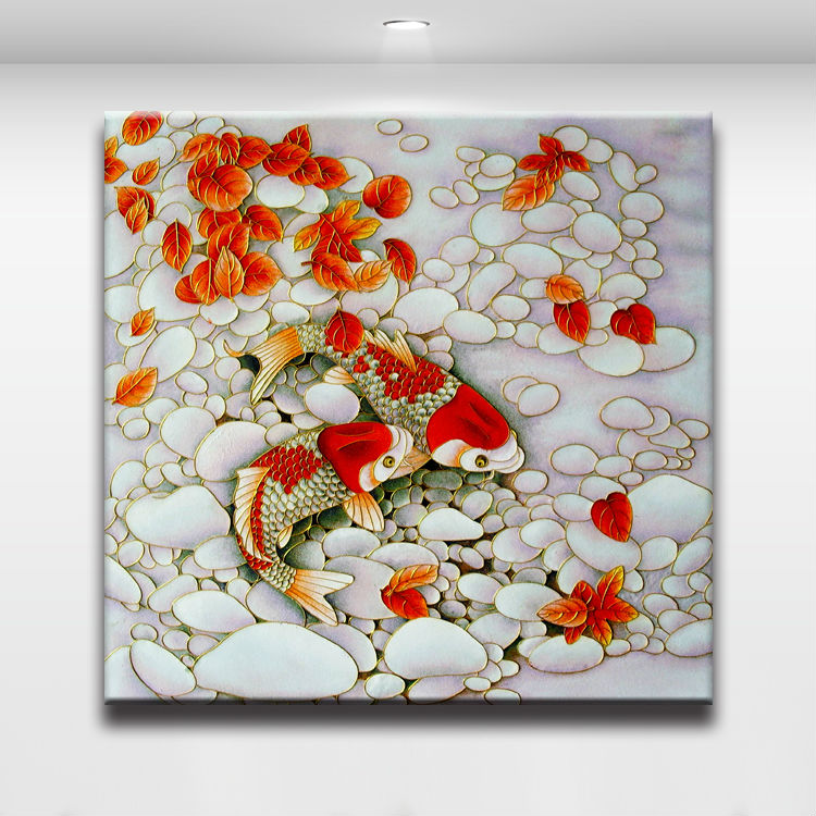 Koi fish in the clear water chinese painting oil canvas for Koi carp wall art