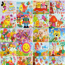 10pcs/lot Fashion 3D EVA Cartoon Animals Puzzle Paste Stickers Handmade Foam Self-adhesive Early Educational DIY Toys 18.5*26cm(China (Mainland))
