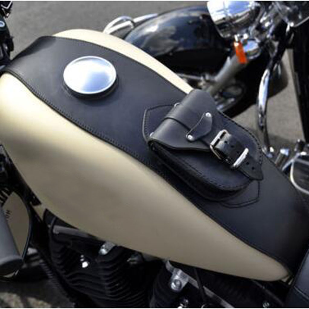 Leather Motorcycle Tank Cover Panel Pad Bib Bra W/Pouch Motorbike Oil Fuel tank Bag For Harley SPORTSTER XL883 1200