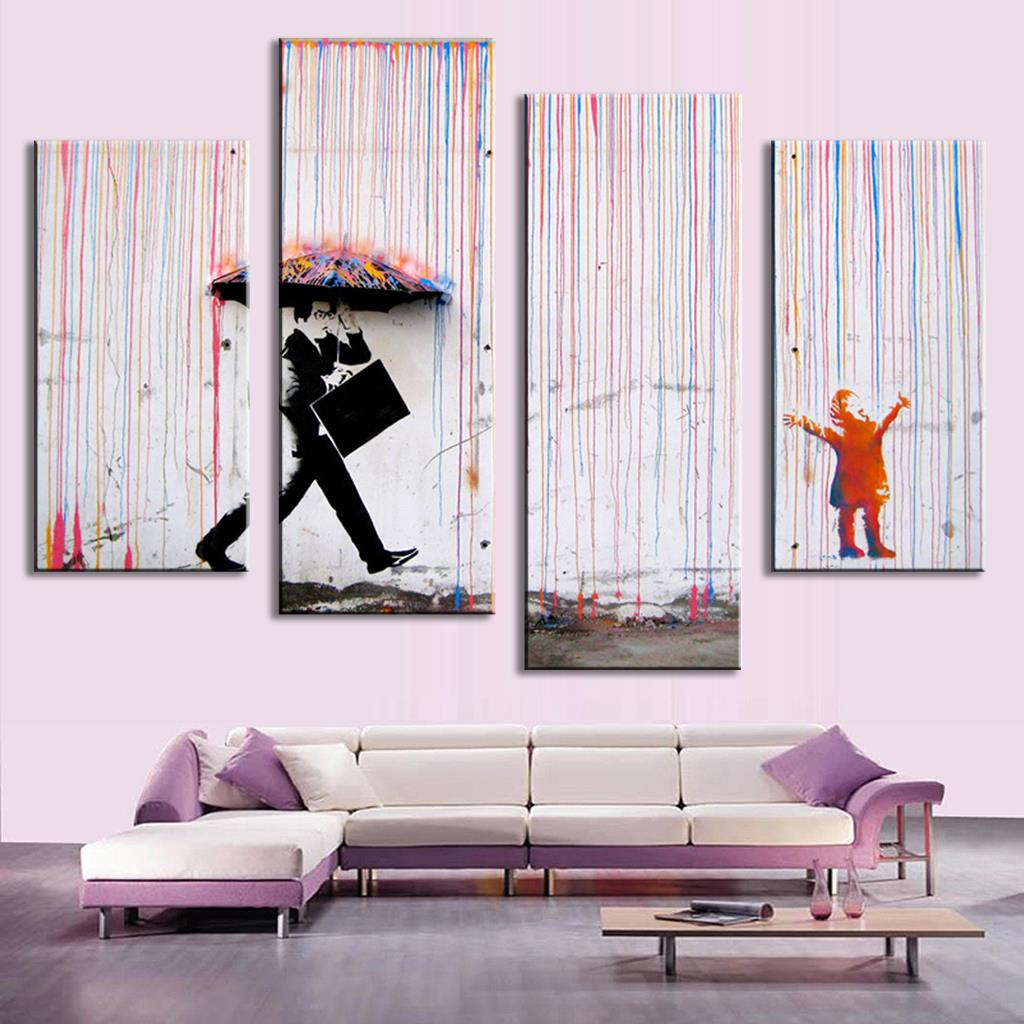 4 Pictures Banksy Art Colorful Rain oil painting paintings for living room wall colorful abstract oil paintings(China (Mainland))