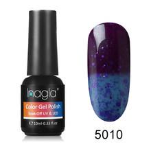 Inagla 10ML טמפרטורת צבע-שינוי ג 'ל פולני 100 צבעים נייל אמנות היברידי לכה לספוג את UV ג' ל לכה מניקור Thermo(China)