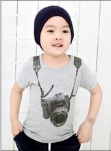 Baby Kid Boys Camera Print Casual T-shirt Short Sleeve Pullover Shirt Tops 2-7Y New