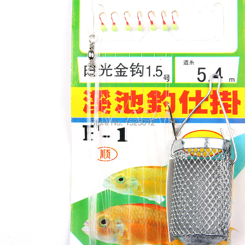 7PCS string hooks with a Small cages Designed to catch small fish hook string explosion hook Fluorescent hook Anti-winding<br><br>Aliexpress