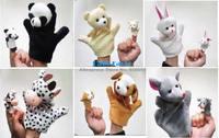 Free Shipping 2pcs Animal Cartoon Hand Finger Plush Puppet Toys For Baby Boy Girl Infant Kids Panda Bear Rabbit Cow Dog Mouse