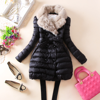 New Winter Duck Dowm Jacket Women Large Rabbit Fur Collar Double-Breasted Coat And Dowm Coat Women Winter Long Jacket Women(China (Mainland))