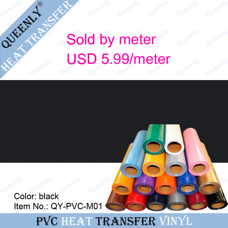 Black PVC heat transfer vinyl pvc vinyl heat transfer for clothing sold by meter 5 meters/pack width 50cm(China (Mainland))