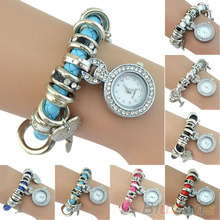 Women s Rhinestone Heart Charm Wrist Watch Faux Leather Braided Strap Bracelet