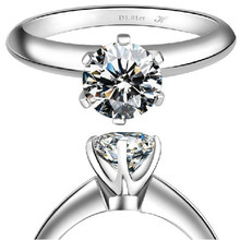 OEM Real Gold 14K T Brand Jewelry Synthetic Diamond Engagement Ring Genuine 14K Gold Engagement Jewelry for Women White Gold 14K(China (Mainland))