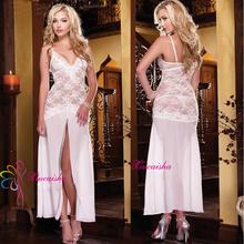 2016 sexy lingerie hot white Gauze lace Splice babydoll Hollow sling V-neck sexy costume Elegant lady Front slit evening dress