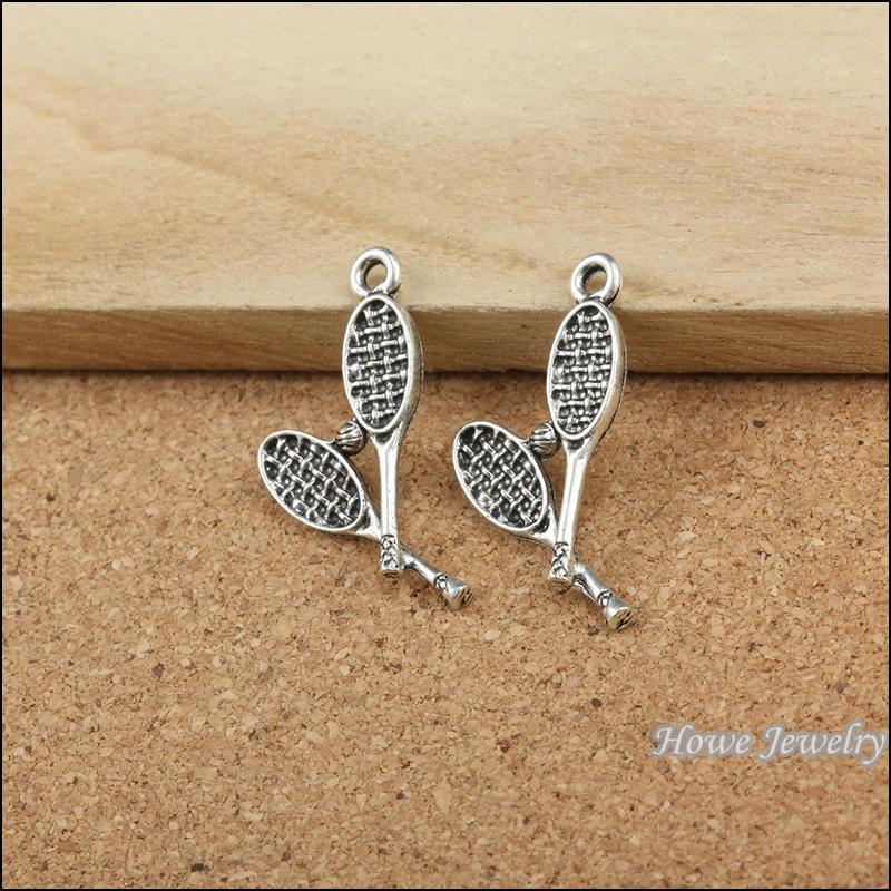 25 pcs Vintage zinc alloy Antique Silver Badminton Racket pendant fit Bracelet Necklace metal jewelry accessories Making 20025(China (Mainland))