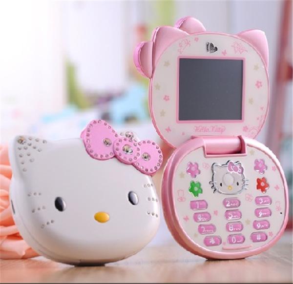 Cute Hello Kitty K688 Quad Band Single Cameras Mobile Phone Unlocked Kids Children Cell Phone Flip Mini Full Keyboard cell phone(China (Mainland))