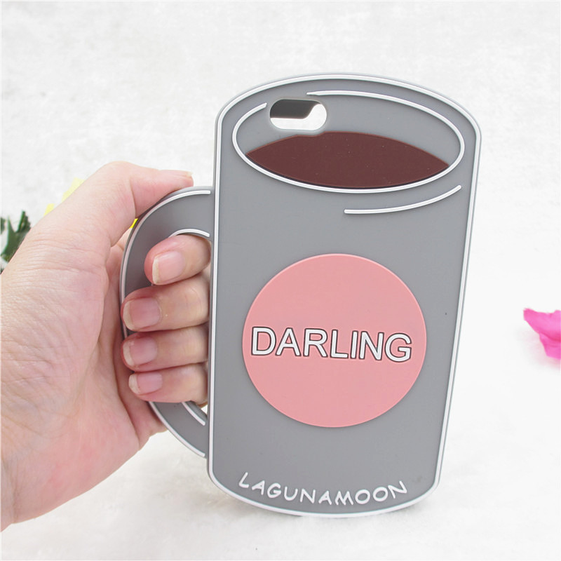 """3D Lagunamoon Darling Coffee Cup soft Silicone Funda For iPhone 4 5 5s 6 6S 6Plus Case 4.7"""" 5.5"""" Rubber Back Cover C1532"""