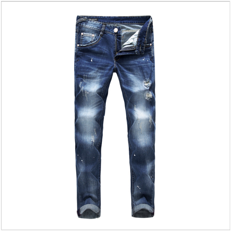 2015 Fashion blue hole beggar Jeans pants embroidered men's slim elastic high quality denim trousers