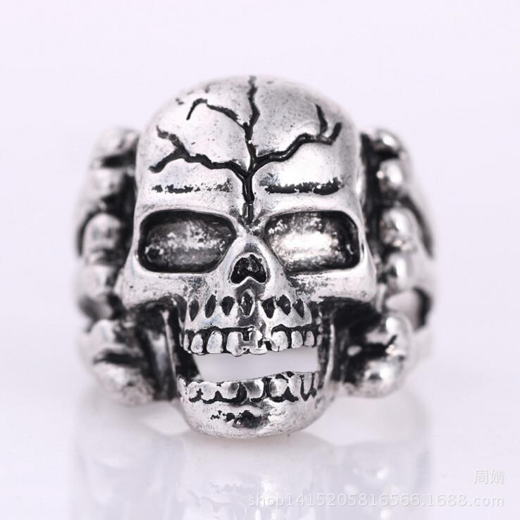 2016 New Stainless Steel Fashion Black Silver Mens Skull Head Biker Finger Rings Gothic Punk Style Cheap Skeleton Jewelry sa957(China (Mainland))