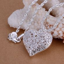 Free Shipping Fashion New Brand Design Luxurio silver plated pendants hollow heart Flower collar summer jewelry(China (Mainland))