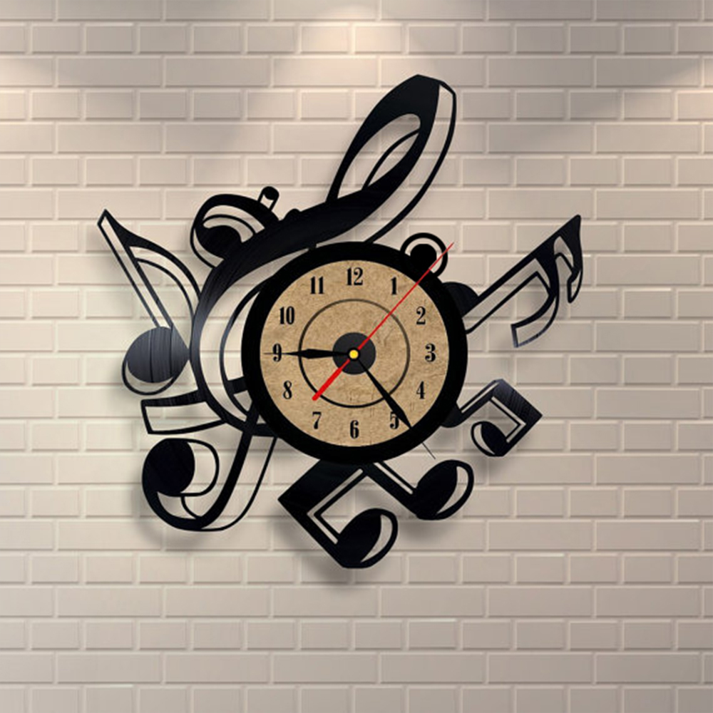 Wall Decor Music Theme : Living room vintage retro vinyl wall clock musical themes
