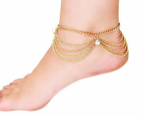 Wholesale Women Summer Sandy Beach Charms Tassel Crystal Gold Plated Anklet Toe Ankle Bracelet Chain Hot Foot jewelry Gifts(China (Mainland))
