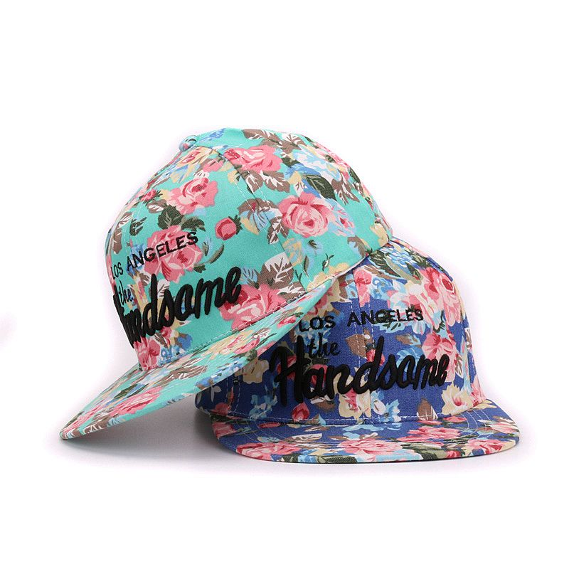 Fashion floral fabric snapback flat bill 3D embroidery handsome baseball cap sports hip hop hat and cap for men and women(China (Mainland))
