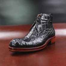Sipriks lüks erkek kovboy çizmeleri ithal timsah derisi yarım çizmeler patron dikiş Welted elbise ayakkabı siyah resmi Gents takım 45(China)