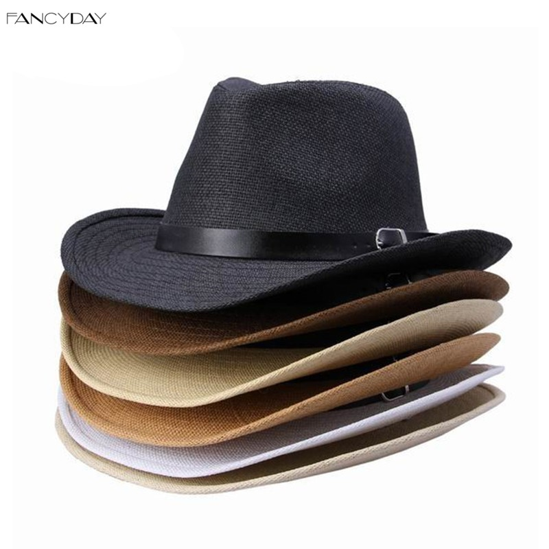 1pc Multi-color Straw Material Hat Leather Band Decor Woman Man Party Cowboy Cap 6 Styles Available Free Shipping DUO(China (Mainland))