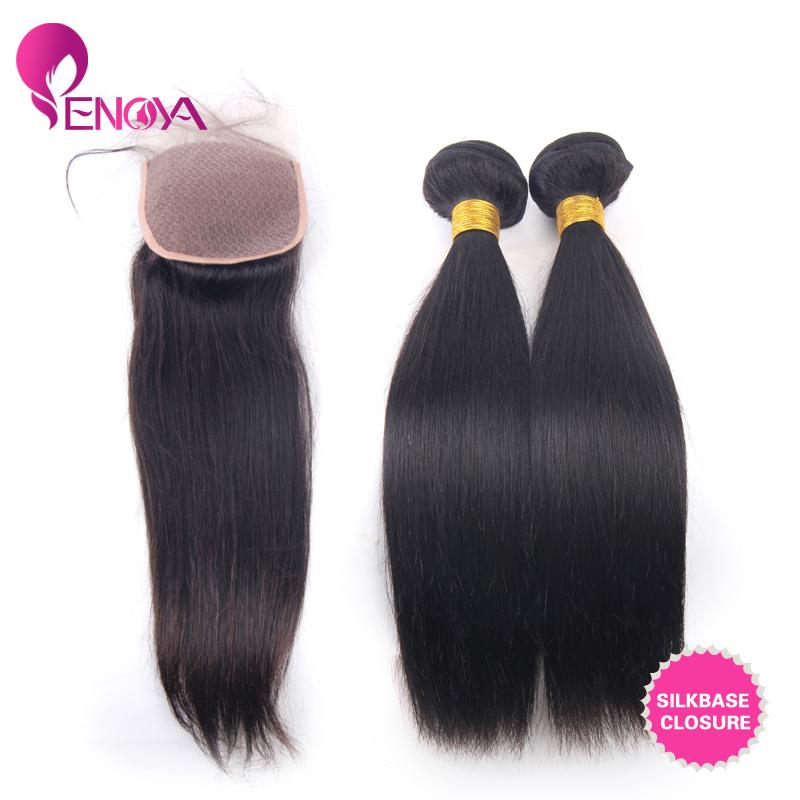"Free Shipping 4""x4"" Peruvian Silk Base Closure with 2 Bundles Straight Peruvian Virgin Hair(China (Mainland))"