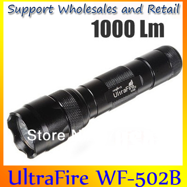 Promotion UltraFire 1000Lm CREE XM-L T6 502B LED Flashlight Torch High/Middle/Low/SOS/Strobe 5Mode Black Dropship Wholesale New(China (Mainland))