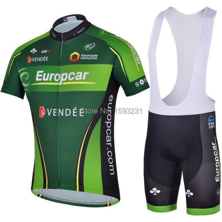 Free Shipping !!! New 2015 Europcar Cycling Jersey + Cycling Bib Shorts Sets Europcar Cycling/bicycle/bike Clothing+Bib Shorts(China (Mainland))