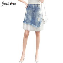 Buy Women Denim Skirt Jeans High Waist Woman Skirts Womens Fashion Denim Knee-length A-line Elastic Waist All-match Blue Mini Skirt for $12.46 in AliExpress store