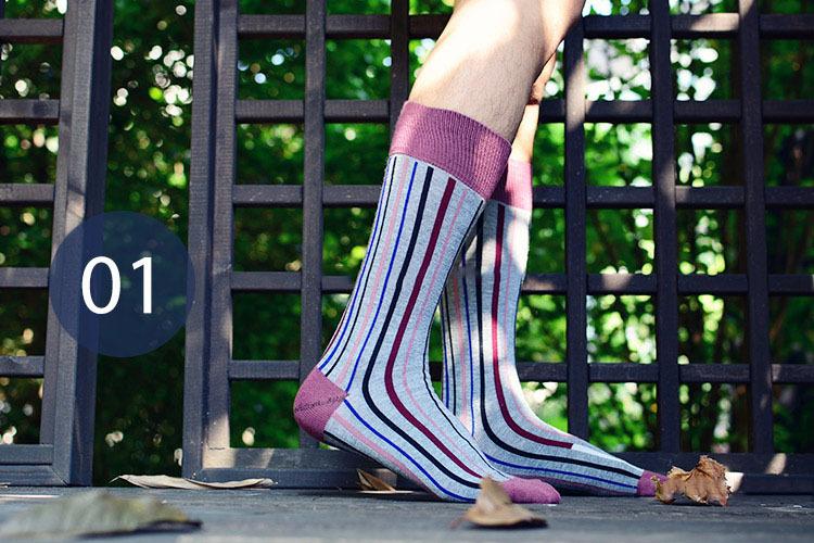 Men s Vertical Stripes Hit Color Tide Cotton Socks Knee High Wild Socks Gentleman Style Fashion