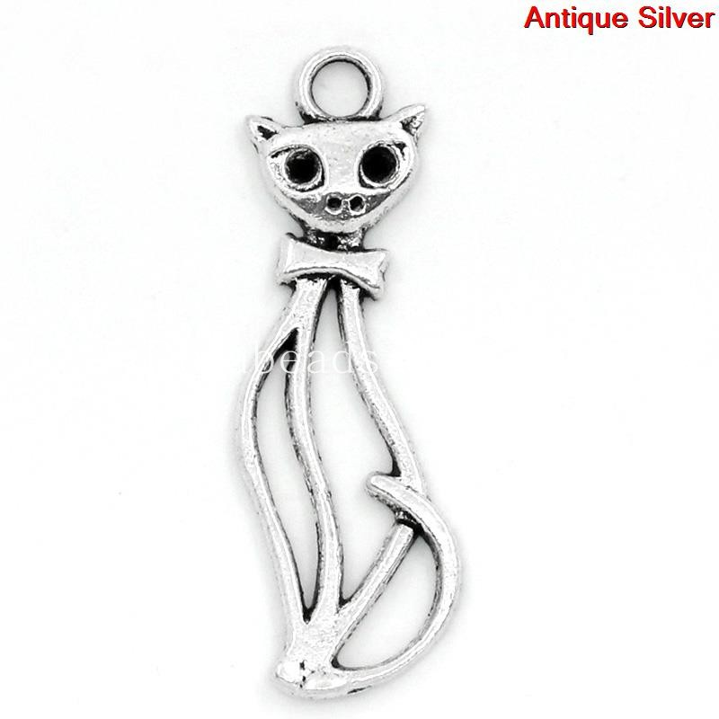 Free Shipping! Charm Pendants Cat Antique Silver Can Hold Rhinestone 3.4x1.1cm,50PCs (B24569)(China (Mainland))