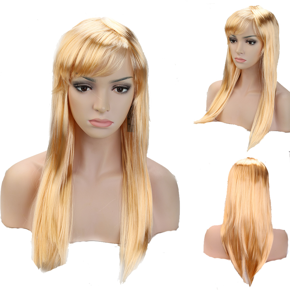Dark Blonde Women Girl Cosplay Party Long Straight Full Wig Synthetic Fiber Hair Anime TW044(China (Mainland))