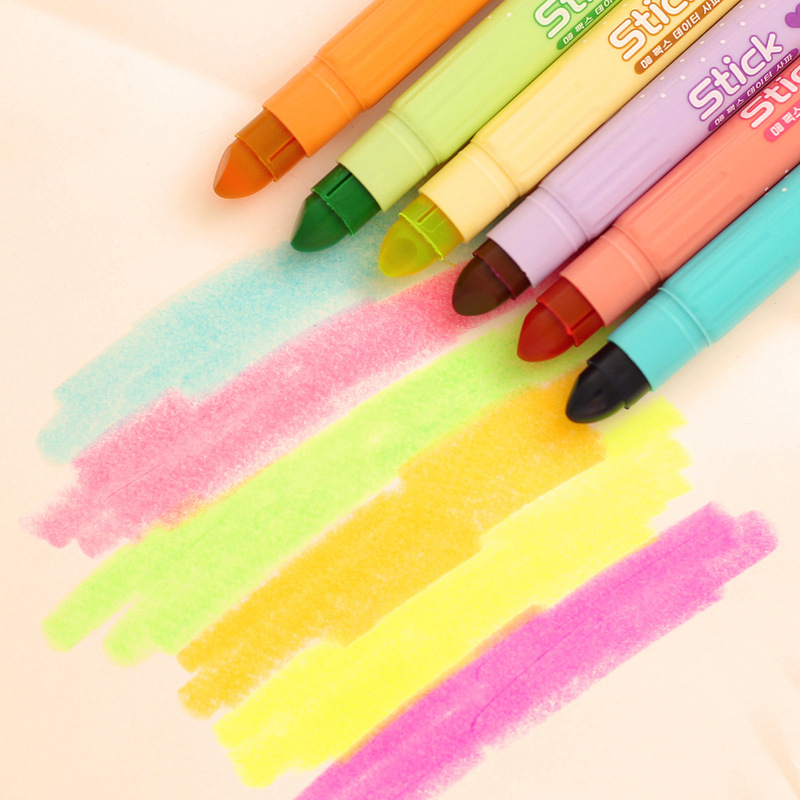 6Pcs/pack Creative cute solid crayon Dry jelly colored highlighter circle neon marker pen school kawaii supplies H0201(China (Mainland))