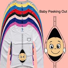 """2015 nuovo disegno divertente e carino maniche lunghe maternità casuale  Camicia """"baby sbirciare fuori"""" stampato maternità plus size  Xxl(China (Mainland))"""