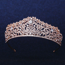 Rose Gold Plated Wedding Bridal Bridesmaid Flower Girls Crystal tiara Rhinestone crown / headband(China (Mainland))