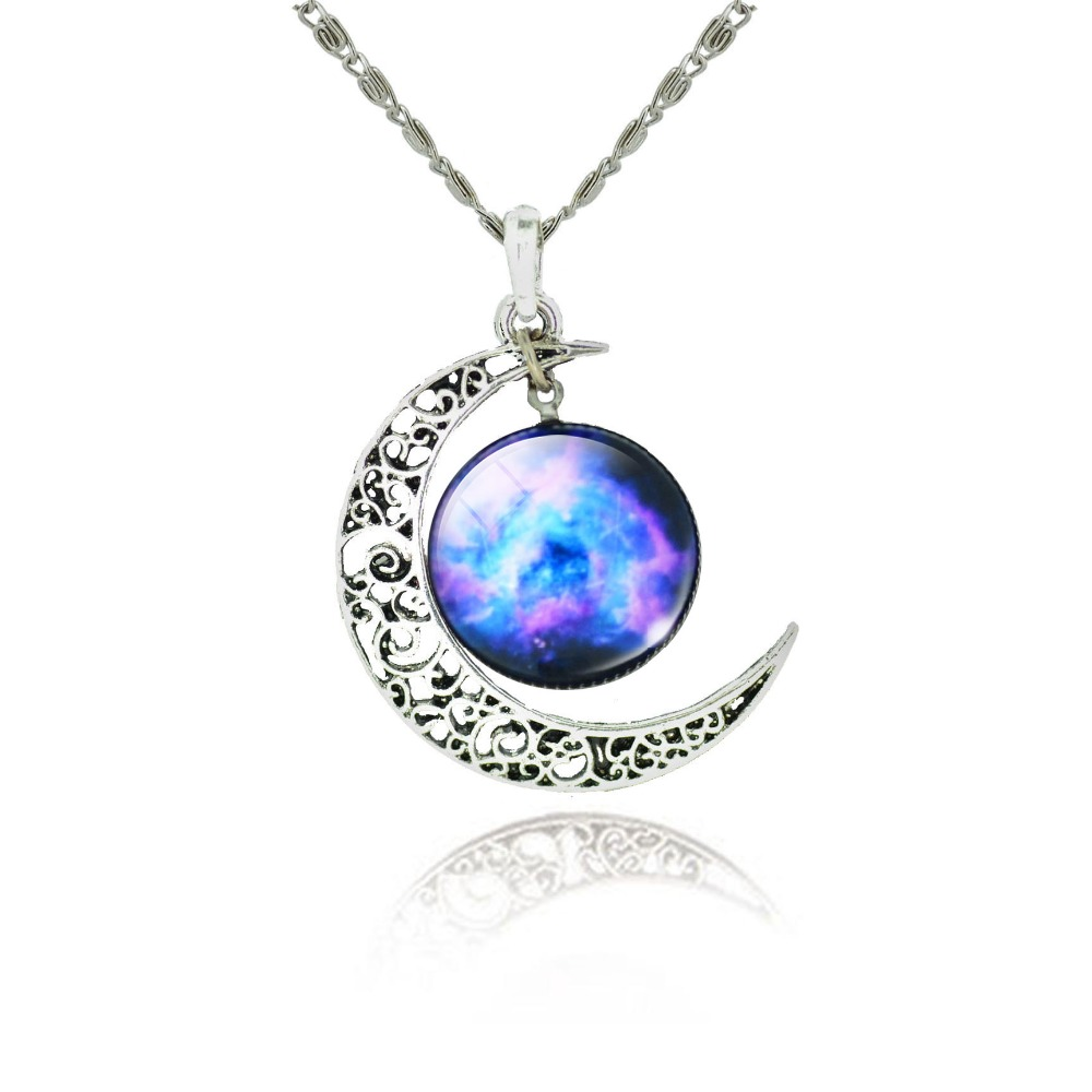 Fashion Ms Tibetan Silver Necklace Glass Convex Circle Pendant Necklace The Starry Sky Moon Time Gem Moon And Stars Jewelry Gift(China (Mainland))