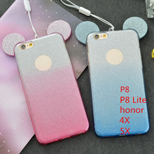 3D Mickey Minnie Mouse Ears TPU Glitter Gradient Case Huawei G8 P8 P9 Lite Honor 4X 5X Hang Rope Phone Cover - OV Technology Co., Ltd. store
