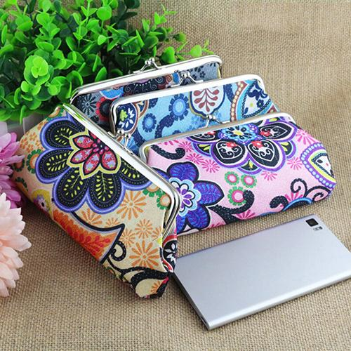 Best Selling Womens Retro Floral Pattern Wallet Clutch Key Card Coin Cell Phone Holder Bag Purse<br><br>Aliexpress