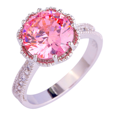 Buy Lingmei Free handmade gems pink CZ Silver Plated Ring Size 6 7 8 9 10 11 Jewelry Gift Women wholesale for $2.74 in AliExpress store