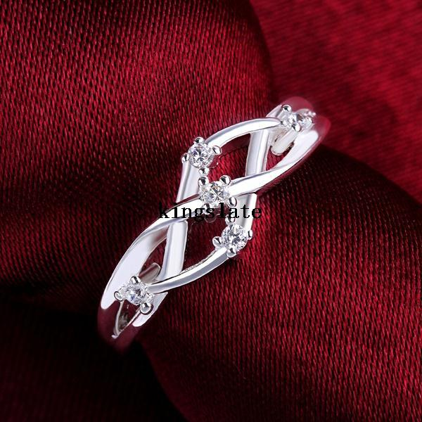 Factory direct high-quality supply of goods 925 Silver rings Inlaid crystal fashion Jewelry Charms accessories Free shipping(China (Mainland))