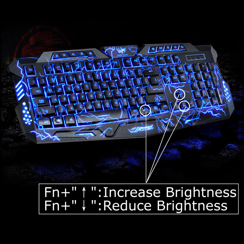 English Version Waterproof Backlight LED Pro Gaming Keyboard M200 USB Wired Powered Full Key For LOL Computer Peripherals(China (Mainland))