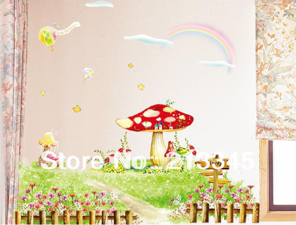 [Saturday Monopoly] Korean version of the new natural fresh garden style decor mural kids cartoon bedroom set wall stickers 2021(China (Mainland))