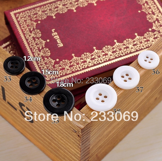 12mm 15mm black white sewing button, bulk buttons,sewing accessories,Resin Butto wholesale JJJ-34(China (Mainland))