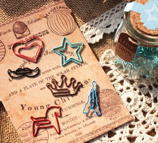 Free shipping Stainless steel Pudding bottle Paperclip 6 pcs/set metal Book line marker 6 Styles / Set Novelty funny Gifts(China (Mainland))