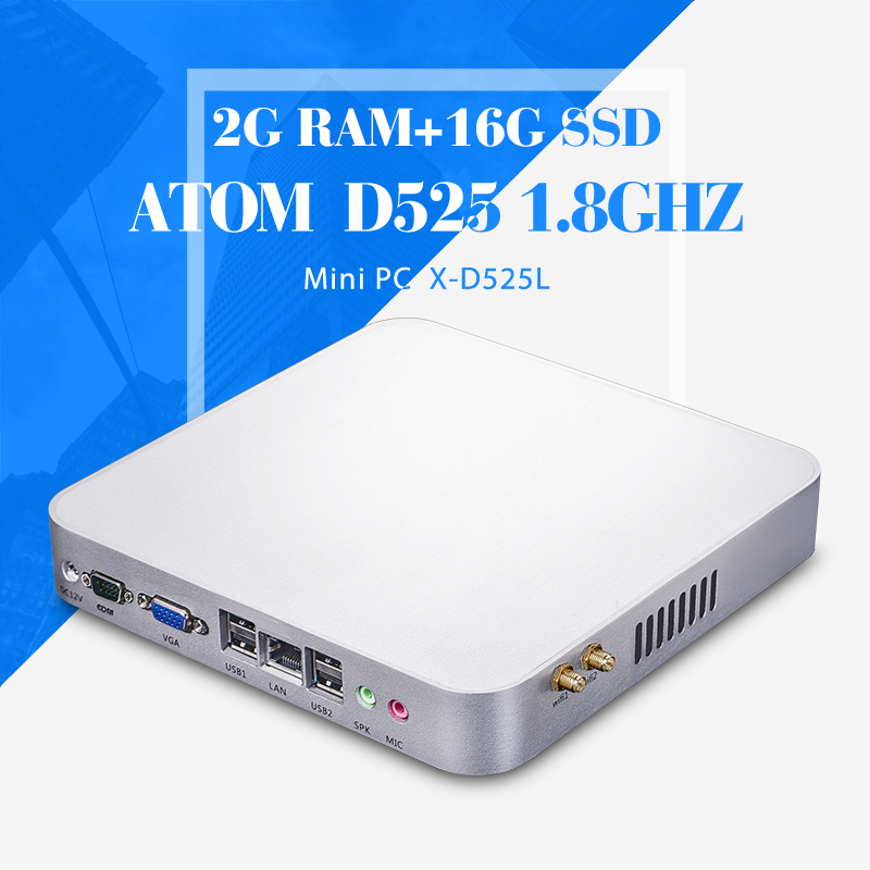 Mini computer D525 2g ram 16g ssd+wifi Industrial Computer Thin Client Office Computer Support WIN7/8/10/8.1/Linux etc(China (Mainland))