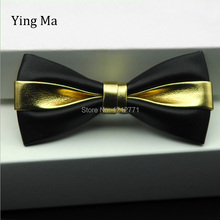Fashion Pu Leather Men Patchwork Bow Tie Female Necktie Red Gold Silver Adult Cravate Homme Wedding Party Bow Ties For Men