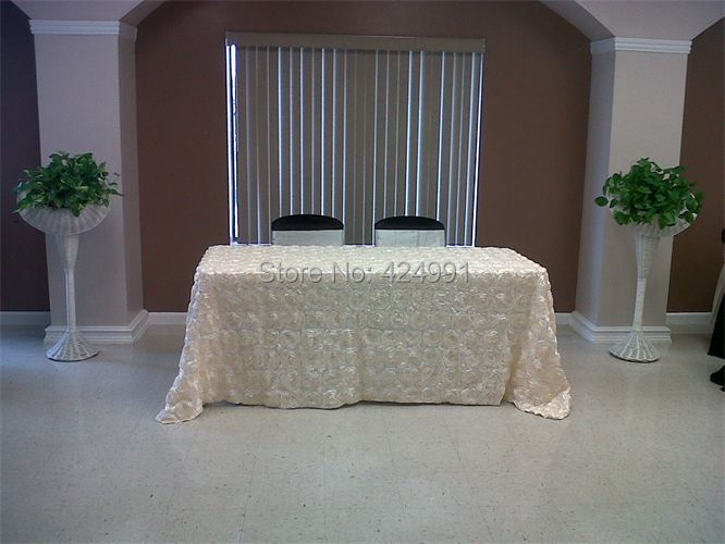 2pcs Ivory 3D rosette 350x230cm Table cloth For Weddings Event &Hotel&Banquet Decoration(China (Mainland))
