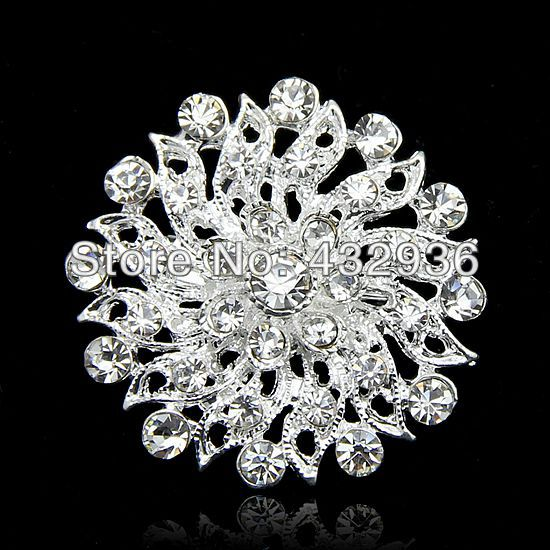 Fabulous Clear Crystal Brooch Small Flower Brooches for wedding(China (Mainland))