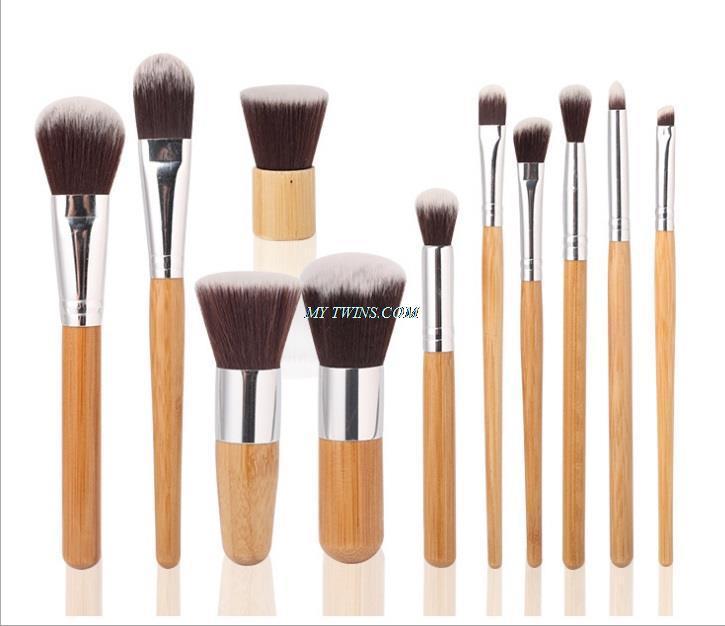New luxury quality Beauty tools 11 Pcs/set Makeup Brushes Set Bamboo Wood Fiber Brush Professional Makeup Brushes Set(China (Mainland))