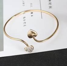 2018 חדש כסף לאהוב פתוח צמידי נשים זוגי לב קריסטל קאף צמיד מעוקב Zirconia ריינסטון קסם תכשיטי מתכוונן(China)